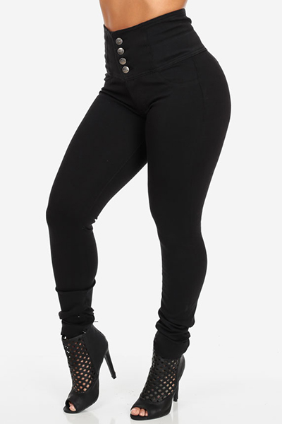 Stylish High  Waist Button Fly Black Denim Skinny Jeans<br>