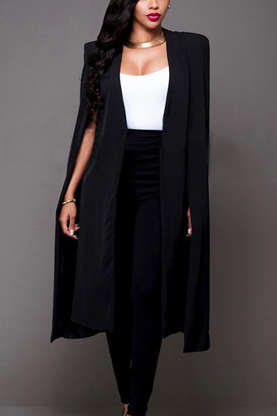 Euramerican Cloak Design Black Healthy Fabric Long Trench Coats<br>