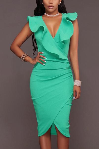 Cotton Sexy V Neck Sleeveless Knee Length Dresses Dresses <br><br>