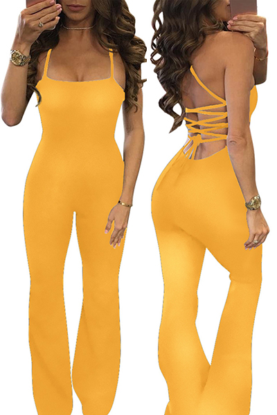 Sexy Spaghetti Strap Backless Yellow Twilled One-piece Skinny Jumpsuits<br>