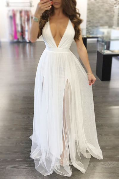 Charming V Neck Sleeveless Yarn Splicing White Polyester A Line Floor Length Dress Dresses <br><br>