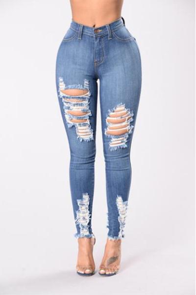Stylish High Waist Broken Holes Light Blue Cotton Jeans<br>