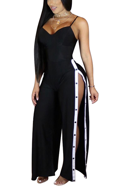 Sexy High Split Black Twilled One-piece Jumpsuits<br>