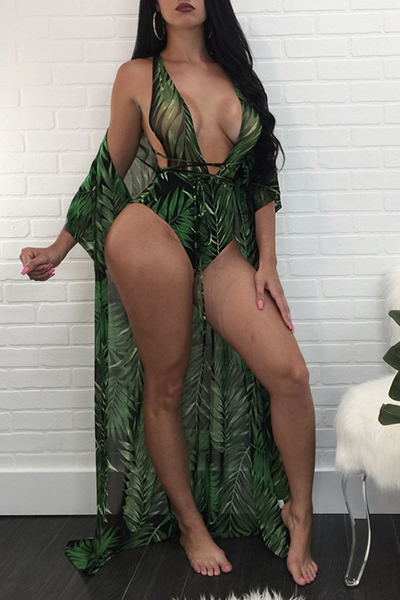 Sexy Printed Hollow-out Dark Green Polyester Two-piece Swimwear(With Shawl)<br>