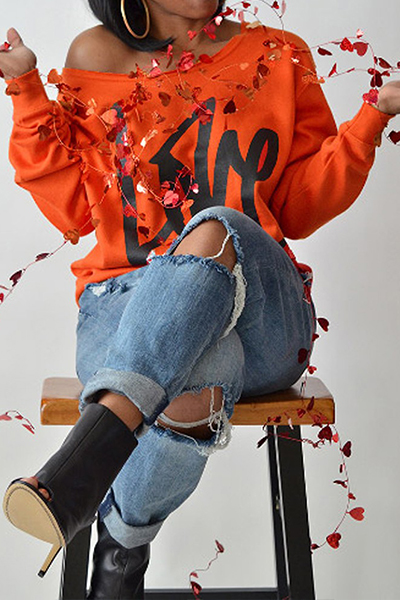 Leisure Round Neck Long Sleeves Letters Printing Orange Cotton Pullover<br>