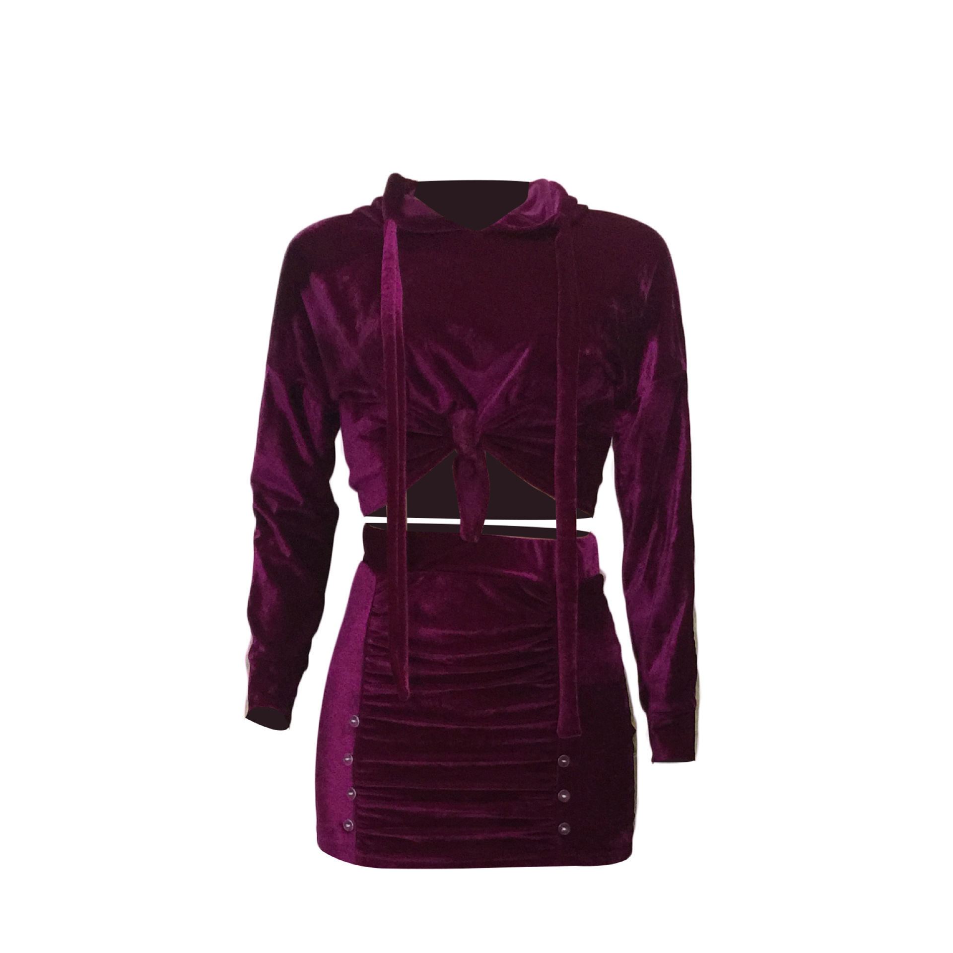 Stylish Turndown Collar Long Sleeves Patchwork Purple Polyester Two-piece Skirt Set<br>