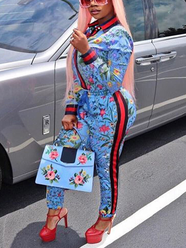 Trendy Round Neck Long Sleeves Floral Print Blue Polyester Two-piece Pants Set<br>