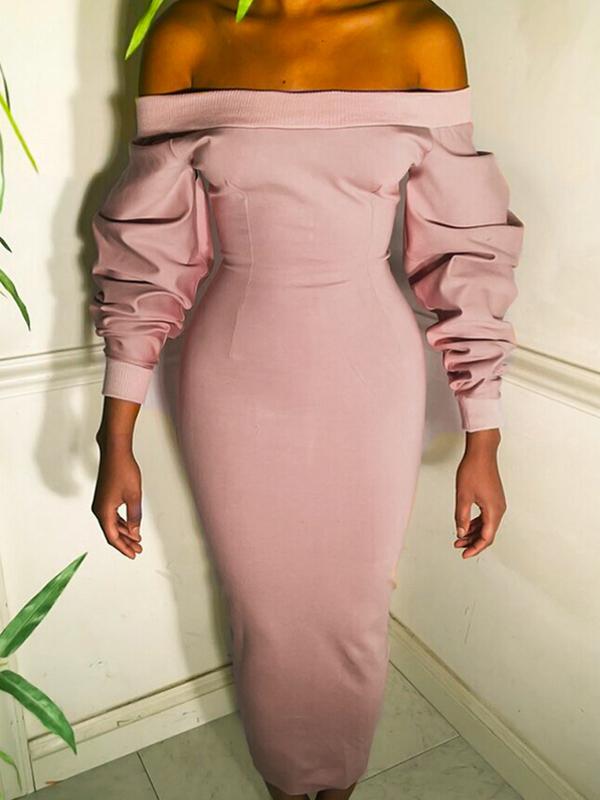 Trendy Dew Shoulder Long Sleeves Pink Polyester Sheath Mid Calf Dress Dresses <br><br>