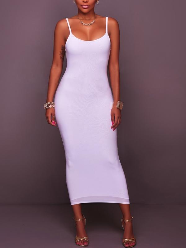 Euramerican Sleeveless White Cotton Blend Sheath Mid Calf Dress Dresses <br><br>