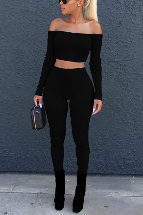 Euramerican Dew Shoulder Black Cotton Two-piece Pants Set<br>