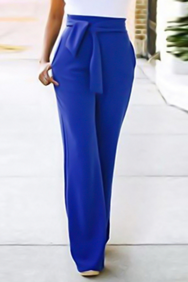 Euramerican High Waist Lace-up Blue Polyester Pants<br>