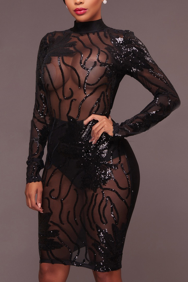 Sexy See-Through Gauze Patchwork Black Sequined Sheath Knee Length Dress Dresses <br><br>