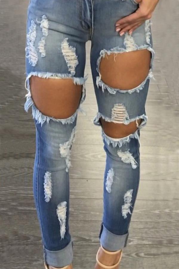 Euramerican High Waist Broken Holes Blue Denim Pants<br>