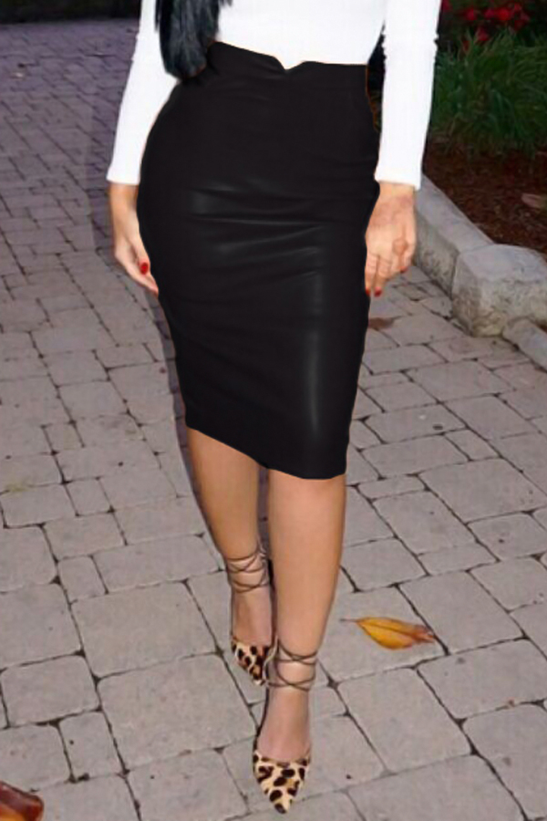 Trendy High Waist Black Leather Sheath Knee Length Skirts<br>