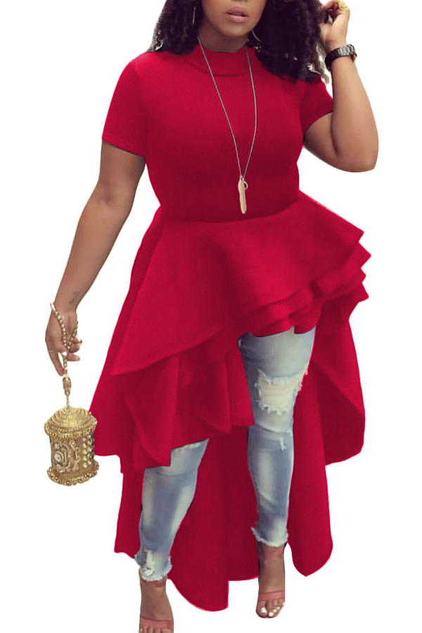 Stylish Mandarin Collar Asymmetrical Falbala Design Red Polyester Mid Calf Dress Dresses <br><br>