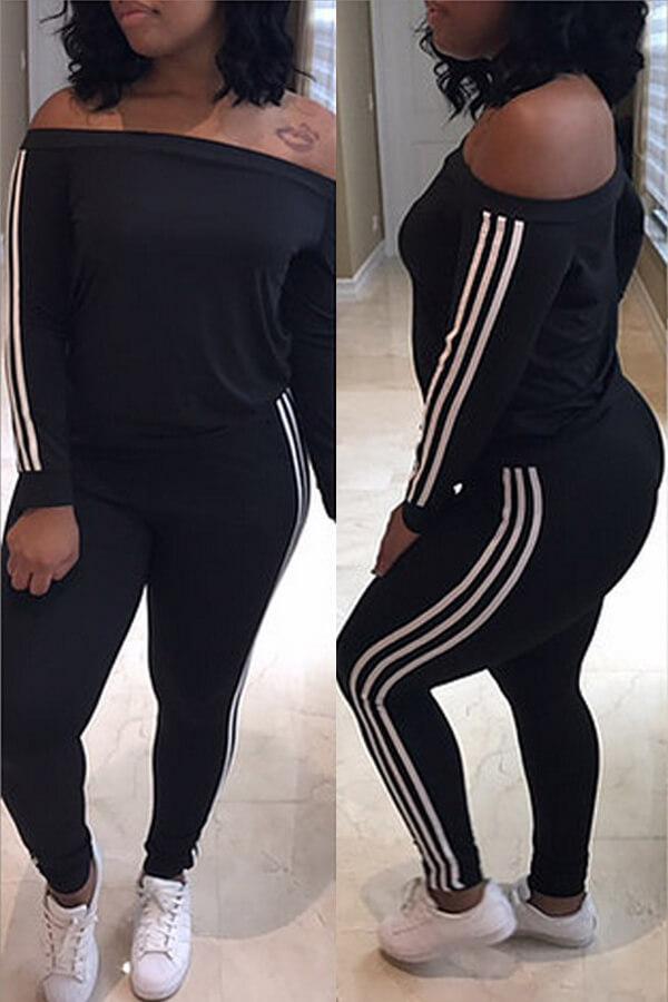 Leisure Dew Shoulder Striped Patchwork Black Milk Fiber Two-piece Pants Set<br>
