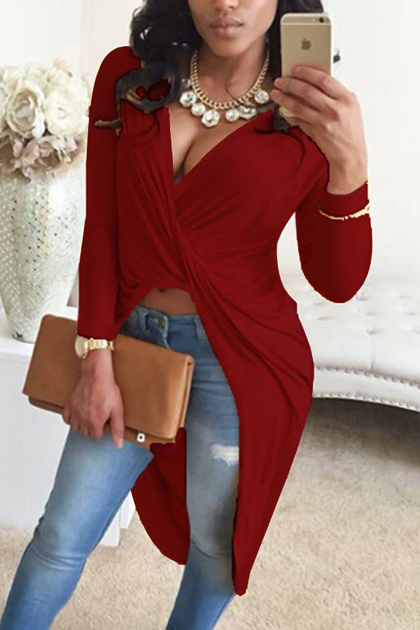 Sexy V Neck Asymmetrical Wine Red Blending Shirts<br>