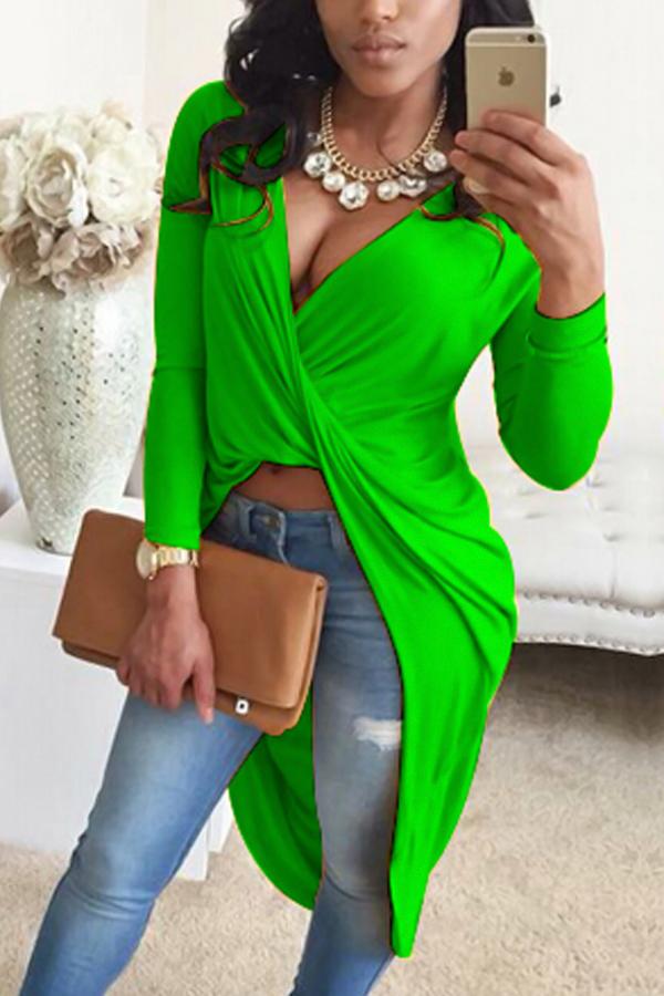 Sexy V Neck Asymmetrical Green Blending Shirts<br>