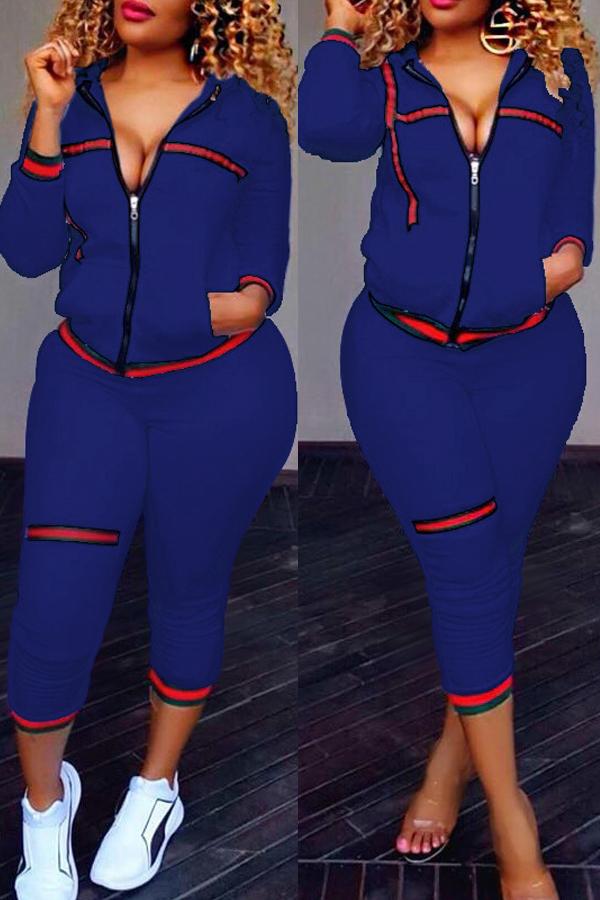 Leisure Zipper Design Dark Blue Knitting Two-piece Pants Set<br>