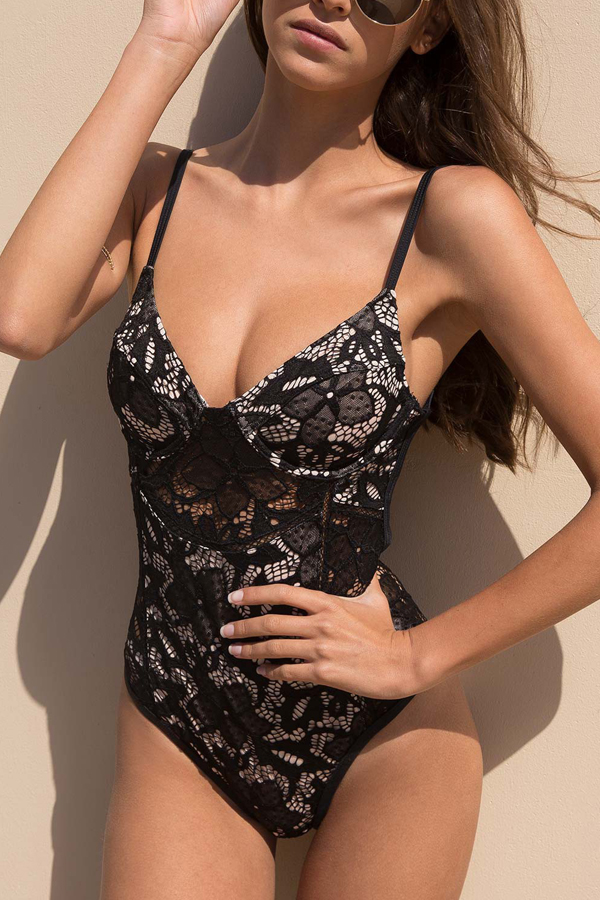 Sexy See-Through Hollow-out Black Lace One-piece Jumpsuits<br>