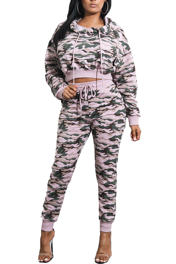 Euramerican Hooded Collar Printed Patchwork Pink Qmilch Two-piece Pants Set<br>