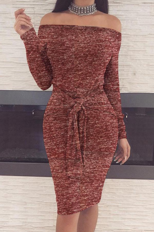 Casual Dew Shoulder Lace-up Wine Red Polyester Sheath Knee Length Dress Dresses <br><br>