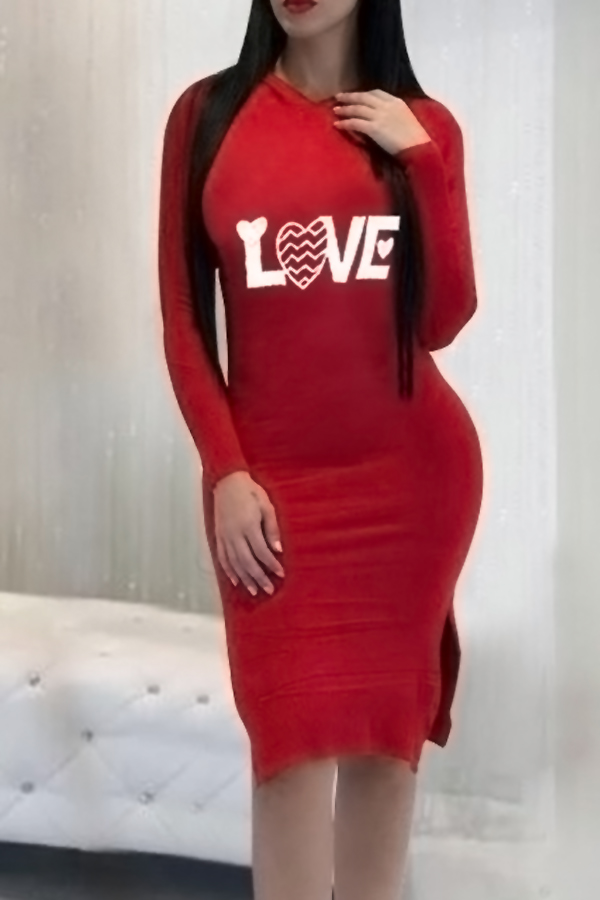 Sexy Hooded Collar Letters Printed Red Cotton Blend Knee Length Dress Dresses <br><br>