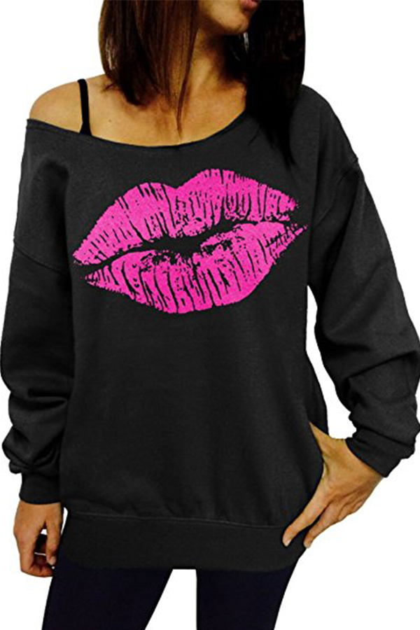 Sexy Dew Shoulder Lips Printed Black Cotton Blends Hoodies<br>