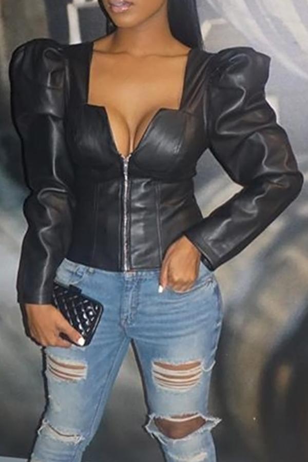 Retro V Neck Zipper Design Black PU Coat<br>
