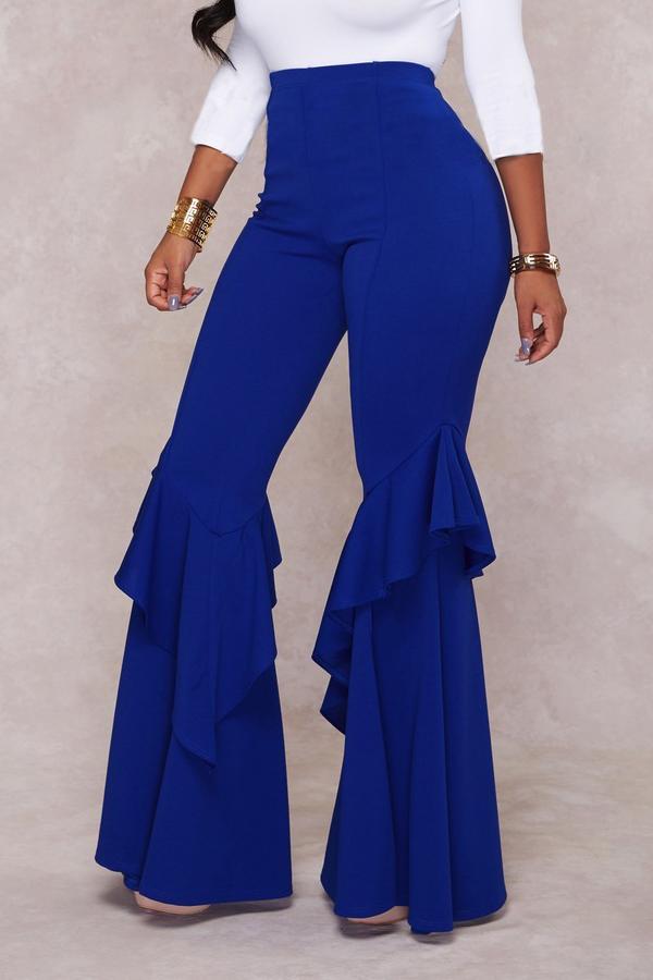 Euramerican Mid Waist Falbala Design Blue Polyester Wide Leg Pants<br>