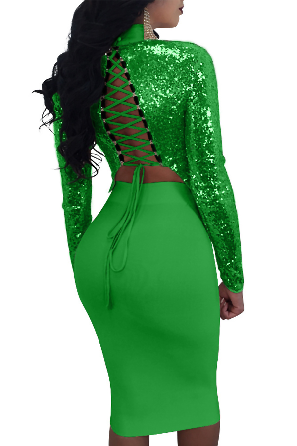 Sexy Mandarin Collar Lace-up Hollow-out Green Polyester Two-piece Skirt Set(Double Side Wear)<br>