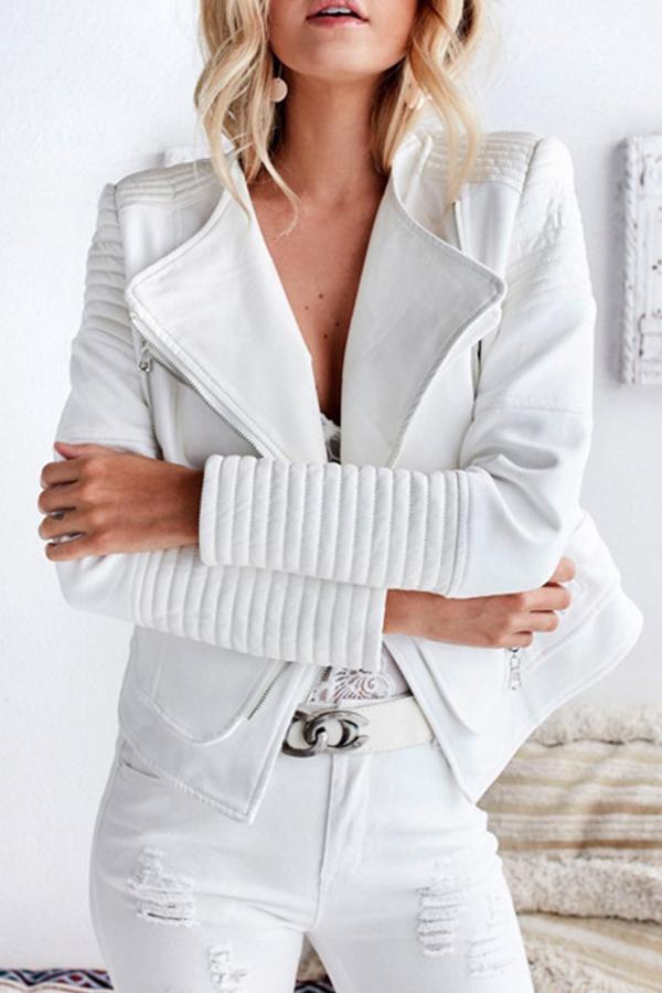 Euramerican Turndown Colla Zipper Design White Polyester Jacket<br>