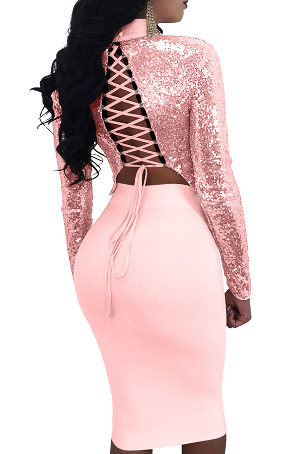 Sexy Mandarin Collar Lace-up Hollow-out Pink Polyester Two-piece Skirt Set(Double Side Wear)<br>