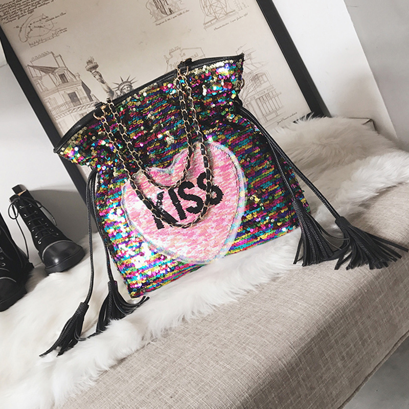 Fashionable Sequined Decorative Black PU Shoulder Bags<br>