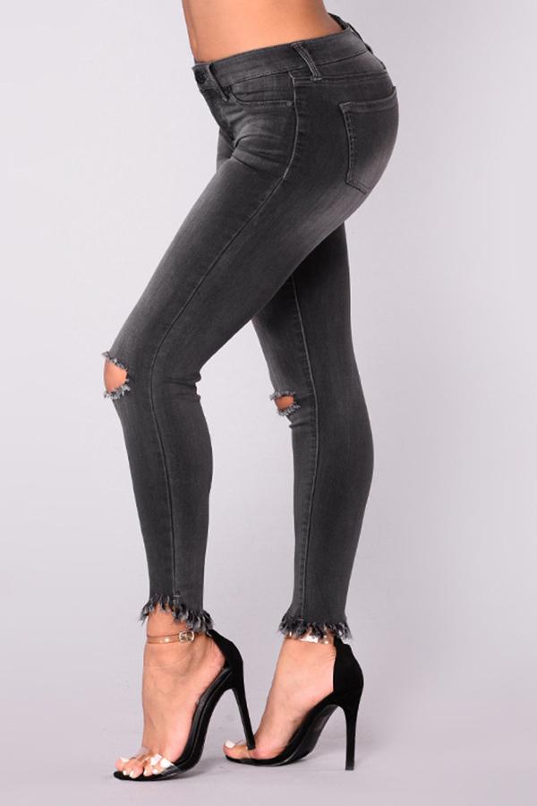 Fashionable High Waist Broken Holes Black Denim Zipped Pants<br>