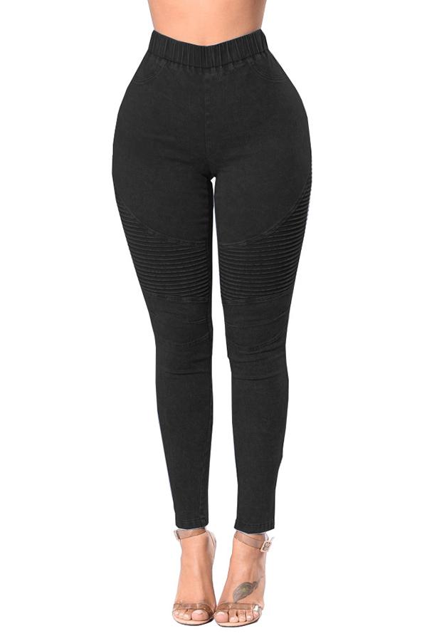 Trendy High Waist Black Denim Pants<br>