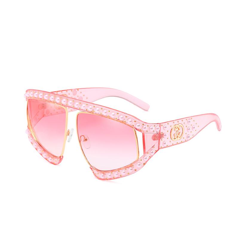 Fashion Pearl Trim Big Frame Design Pink PC Sunglasses<br>