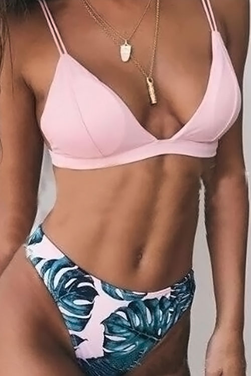 Lovely Sexy Reversible Wearing Printed Pink Polyester Two-piece Swimwear<br>