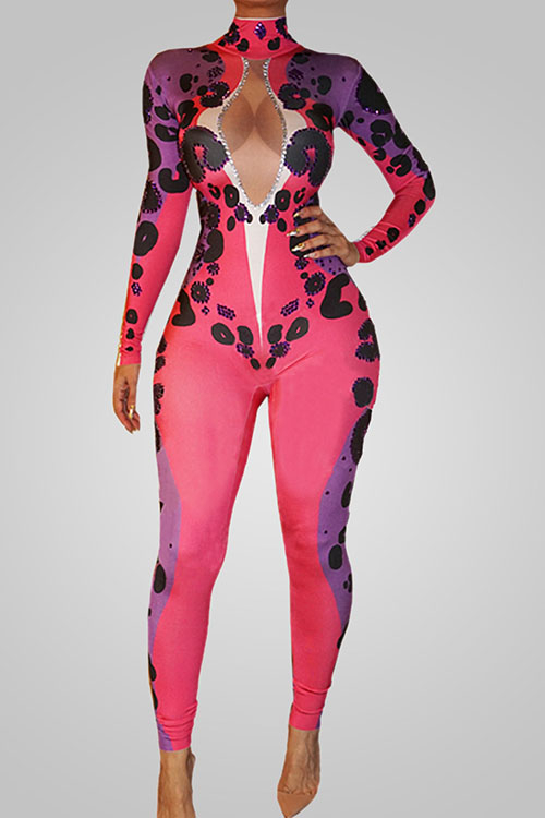 Lovely Trendy Turtleneck Hollow-out Printed Polyester One-piece Jumpsuits<br>