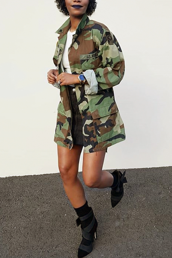 LovelyCasual Turndown Collar Single Breasted Camo Cotton Blends Coat(Without Belt)<br>