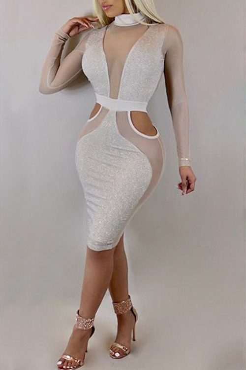 Lovely Sexy Turtleneck See-Through Hollow-out White Polyester Knee Length Dress Dresses <br><br>