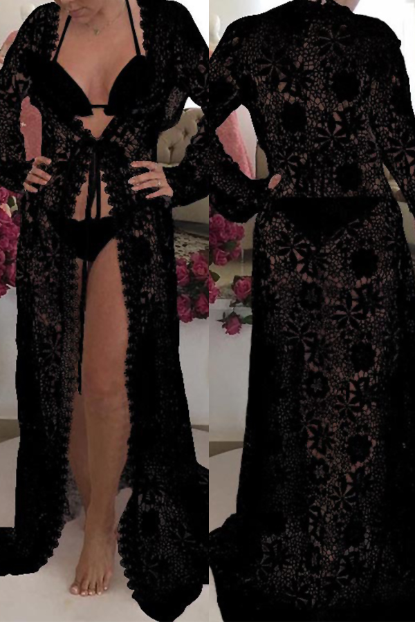 Lovely Fashion Hollow-out Lace Spliced Black Polyester Cover-Ups(Without Subcoating)<br>