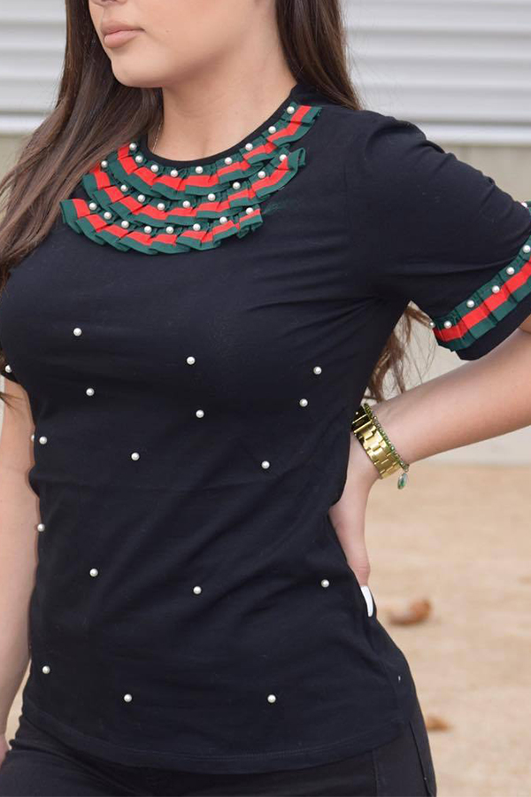 Lovely Casual Round Neck Short Sleeves Pearl Decoration Black Cotton T-shirt<br>