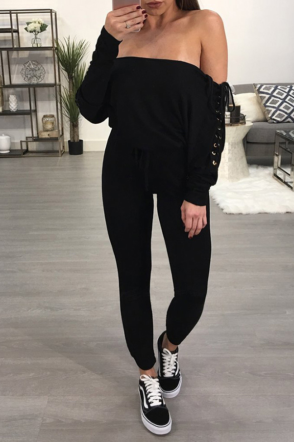 Lovely Trendy Bateau Neck Lace-up Black Polyester One-piece Jumpsuits<br>