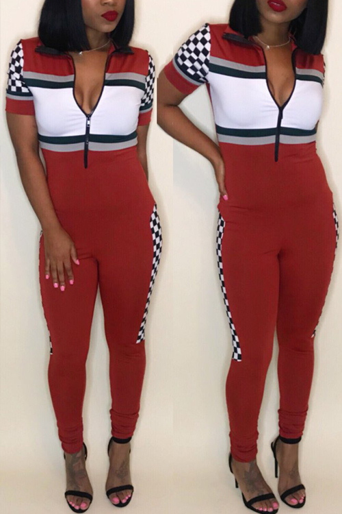 Lovely Stylish V Neck Patchwork Red Cotton Blends One-piece Jumpsuits<br>