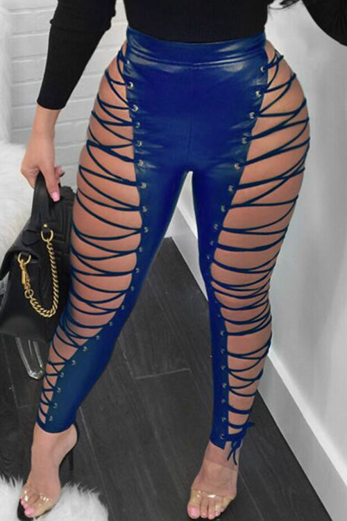 LovelyFashion High Elastic Waist Lace-up Hollow-out Blue Leather Pants<br>