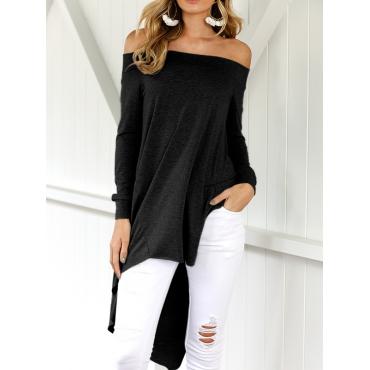 Leisure Dew Shoulder Asymmetrical Black Cotton Blends Shirts<br>