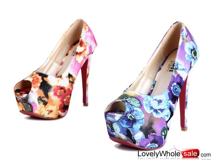 Kvoll shoes wholesale beautiful pattern women pumps Purple