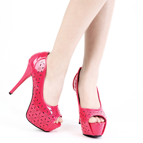 Sexy Hollow-Out Round Peep Toe Platform Super High Stiletto Rose Pumps