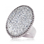 Fashionable Shining Rhinestones Decent Ring White